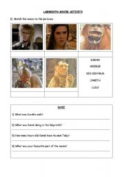 English Worksheets: LABYRINTH - MOVIE ACTIVITY