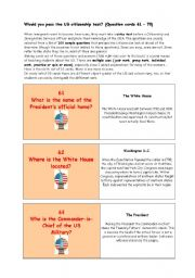 English Worksheet: ** Would you pass the US citizenship test? ** THE MOST IMPORTANT FACTS ABOUT THE USA ** (Question cards 61 � 70)