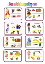 English Worksheets: speaking cards likes and dislikes 1
