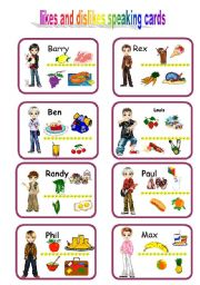 English Worksheets: speaking cards likes and dislikes 2