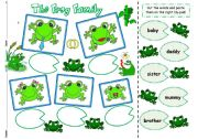 English Worksheet: The Frog Family - cut & paste