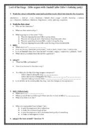 English Worksheet: lord of the rings: the fellowship of the ring