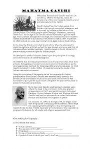 English teaching worksheets: Gandhi