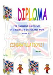 English Worksheet: diploma for the English course