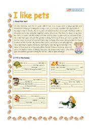 English Worksheets: I LIKE PETS