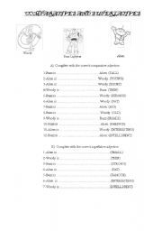 English Worksheets:  Toy Story comparatives-Superlatives