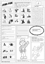 English Worksheet: Jobs Fun
