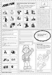 English Worksheet: Jobs Fun