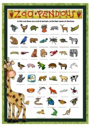 English Worksheets: ZOO PENDOUS - WRITE THE NAME OF THE ANIMALS - PART 2