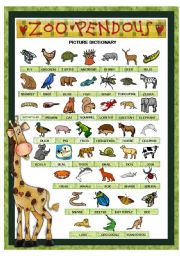English Worksheets: ZOO PENDOUS - PICTURE DICTIONARY (animals) - PART 1