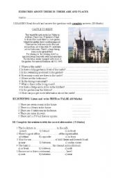 English worksheet: EXERCISES ABOUT THERE IS /ARE AND PLACES