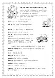 English Worksheet: RUDOLPH HAS GOT A BLUE NOSE! (1-4) full version in B&W