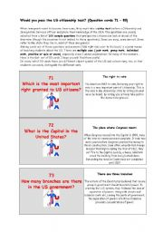 ** Would you pass the US citizenship test? ** THE MOST IMPORTANT FACTS ABOUT THE USA ** (Question cards 71 – 80)