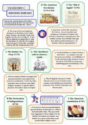 English Worksheets: US History I - matching exercise