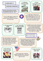 English Worksheets: US History II - matching exercise