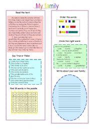 English Worksheets: My family  (reading,exercises,writing)