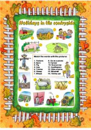English Worksheet: SUMMER HOLIDAYS IN THE COUNTRYSIDE (editable)