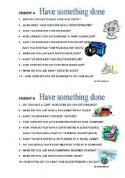 English Worksheet: Have something done - conversation questions