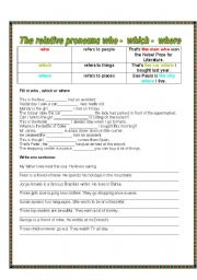 English Worksheets: RELATIVE PRONOUN WHO, WHICH WHERE