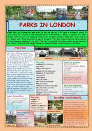English Worksheets: London Parks (2 pages)