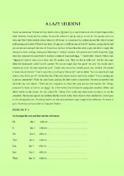 English Worksheets: A lazy student