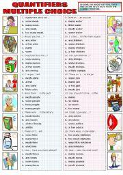 English Worksheet: QUANTIFIERS - MULTIPLE CHOICE