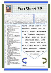 English Worksheets: Fun Sheet 39