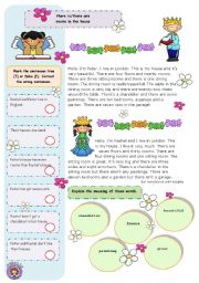 English Worksheet: Rooms in the house there is/there are