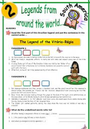 English Worksheets: LEGENDS FROM AROUND THE WORLD SERIES (2)