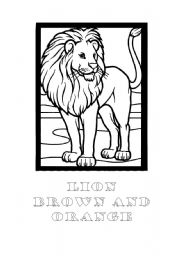 English Worksheets: LION - Brown and Orange