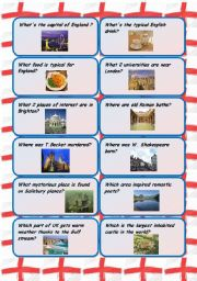 English Worksheet: England and Scotland conversation cards - follow up for the pictionaries on the English-speaking countries