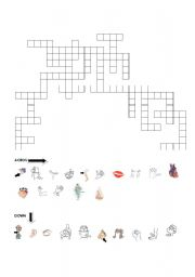 English Worksheets: BODY PART CROSSWORD PUZZLE