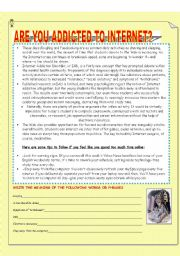 English Worksheet: ARE YOU ADDICTED TO INTERNET? READING,ROLE-PLAY,SPEAKING