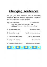 English Worksheets: Changing Sentences