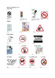 English Worksheet: obligations and prohibitions