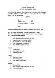 English Worksheet: Action and Linking Verbs