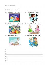 English Worksheets: The movie has just started.