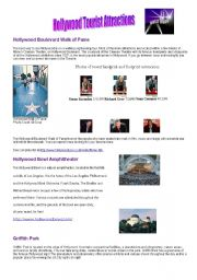 English Worksheet: Hollywood main attractions