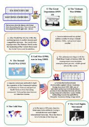 English Worksheets: US History III - matching exercise