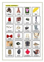 English Worksheet: clothes pictionary 2