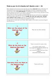 English Worksheet: ** Would you pass the US citizenship test? ** THE MOST IMPORTANT FACTS ABOUT THE USA ** (Question cards 71 � 10)