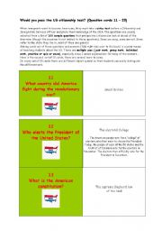 English Worksheet: ** Would you pass the US citizenship test? ** THE MOST IMPORTANT FACTS ABOUT THE USA ** (Question cards 11 � 20)