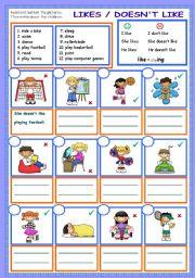 English worksheet: likes / doesn´t like -ing