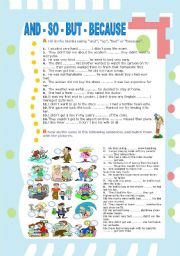 English Worksheets: AND - SO - BUT - BECAUSE