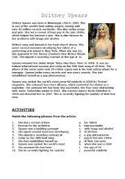 English Worksheet: Britney Spears
