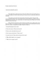 English Worksheets: Reading comprehension for pre-intermediate level