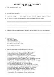 English Worksheet: Cleaning out my closet - Eminem