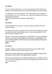 English Worksheet: Agony Aunt letters