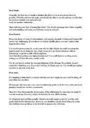 English Worksheet: Agony Aunt replies