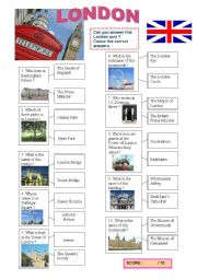 English Worksheet: LONDON QUIZ
